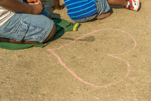 Photo of chalk heart drawing