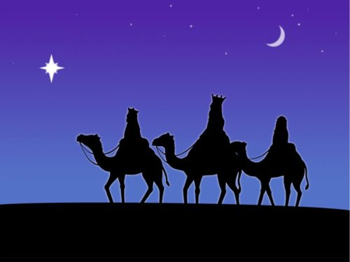 graphic of 3 wisemen riding camels
