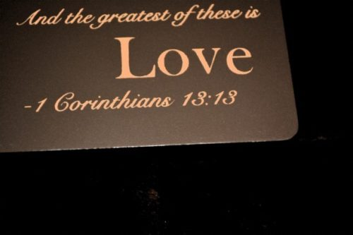 "graphic with words ""Greatest of these is love"""